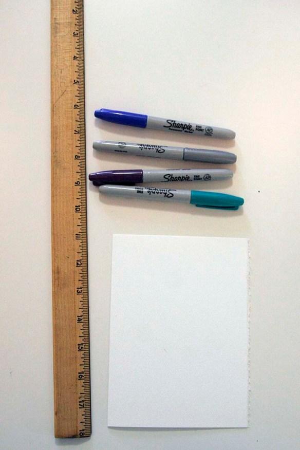 diy supplies of sharpie, notecard, ruler