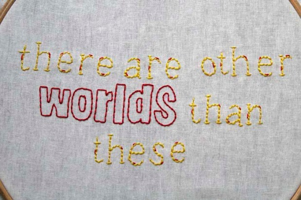close up book embroidery