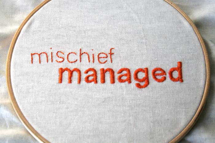 Mischief Managed Aka Embroidery No 2 Rae Nudson