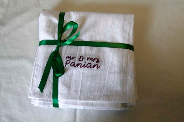 wedding present embroidered hand towels