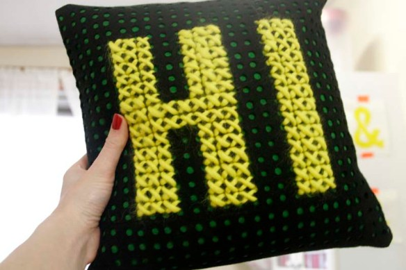 hi cross stitch pillow