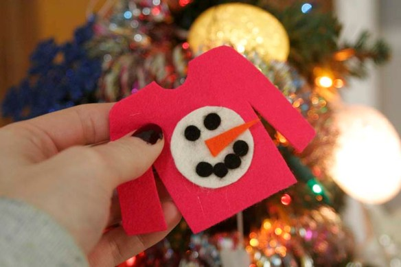 snowman ugly sweater ornament