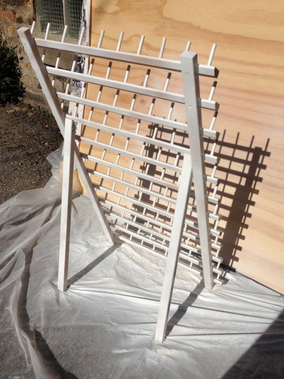 spray painted sewing rack