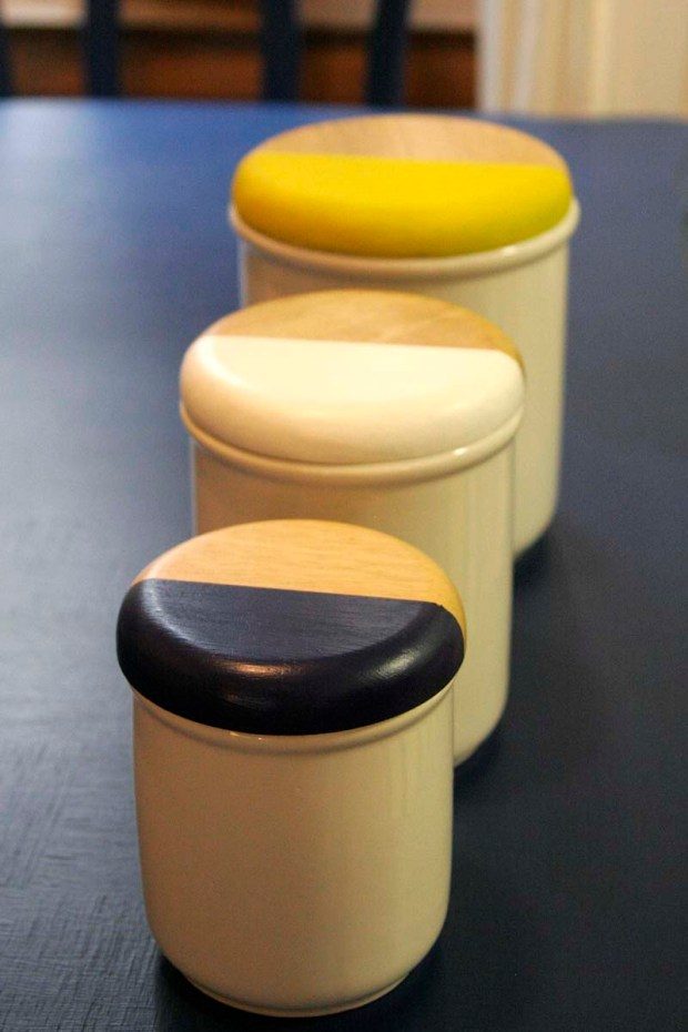 painted canisters for the kitchen