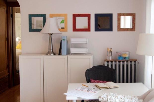 desk area with diy decorative mirrors